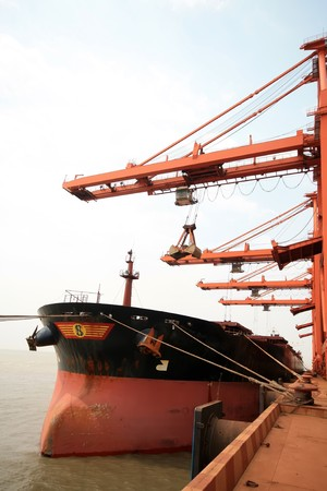 north china: Caofeidian Ore Terminal in North China, 2009. Stock Photo