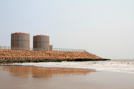 north china: Caofeidian oil terminal in North China, 2009. Stock Photo