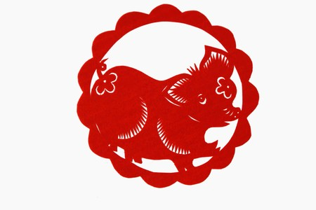 animal time: chinese paper-cut works in simple color background
