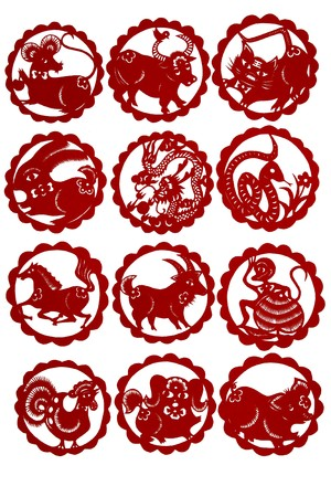 zodiac symbol: chinese paper-cut works in simple color background