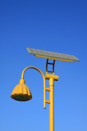 yellow solar street light use of natural resources, in the blue sky, Tangshan City, Hebei Province, china. Stock Photo - 7474435