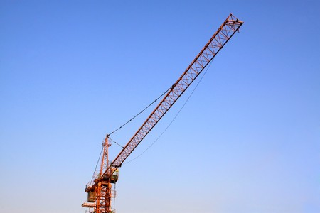 tower crane in the blue sky background photo