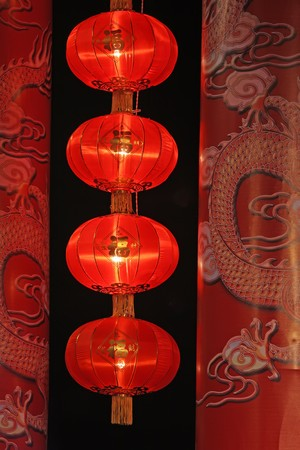 red lantern hanging in the New Year festive atmosphere. photo