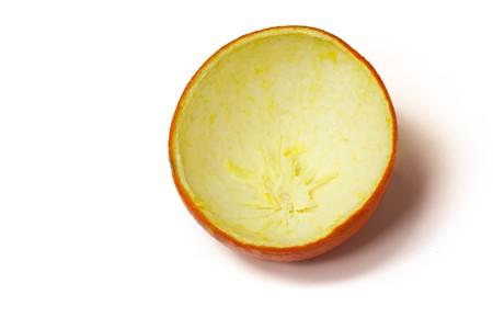 tangerine peel: fresh tangerine peel in a white background.  Stock Photo