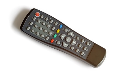 tv remote control on a white background, close up of pictures. photo