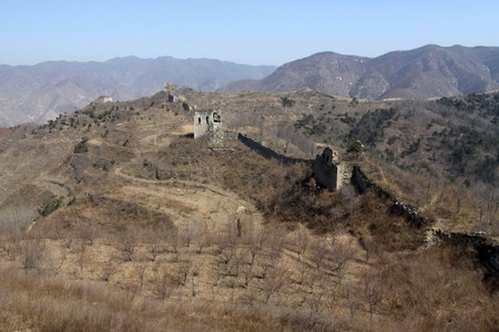 the original ecology great wall in winter, desolate and rugged, north china.  Stock Photo - 7549076
