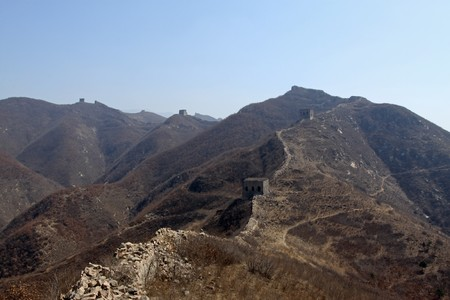 the original ecology great wall in winter, desolate and rugged, north china.  photo