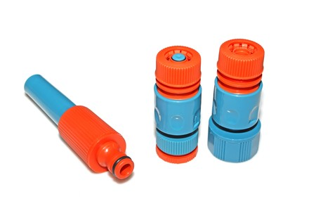 plastic pipe: plastic pipe fittings in a white background, close up of pictures. Stock Photo