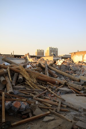 north china: city demolition site in north china.