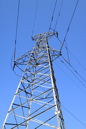 electric tower in the blue sky, steel power transmission facilities, HeBei, North China. Stock Photo - 7611889