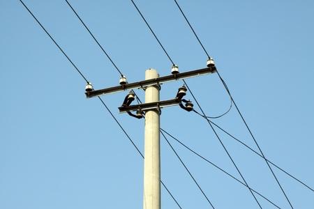 Elektrischen Draht Stange In Den Blauen Himmel In China Ländlichen ...