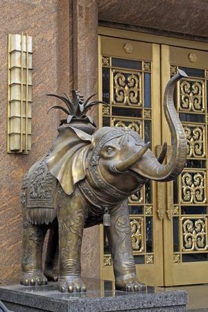 close up of copper elephants sculpture