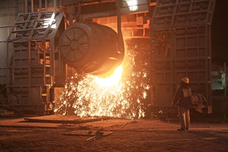 metallurgy: steelmaking furnace in a factory in china Stock Photo