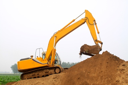 excavator in the construction site
