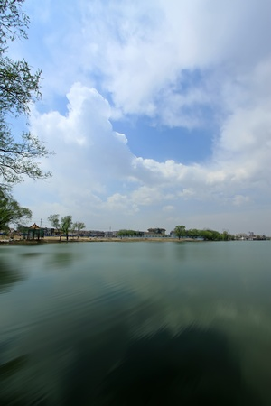 lake scenery in the blue sky in china photo