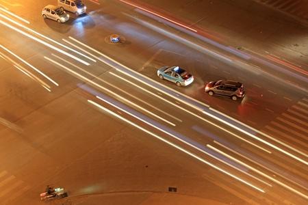 city traffic at night in china photo