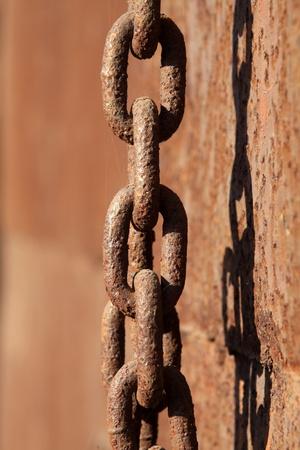 closeup of rust iron chains