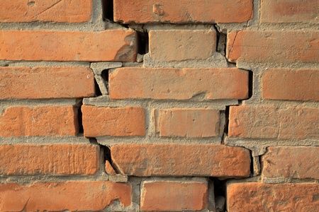 closeup of pictures, crack of red brick wall Stock Photo - 10580394