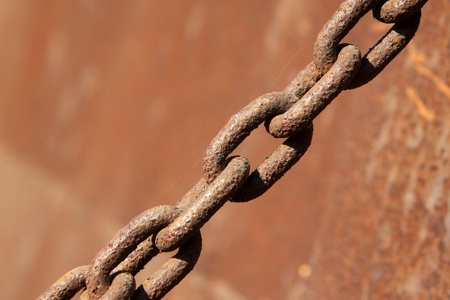 closeup of rust iron chains