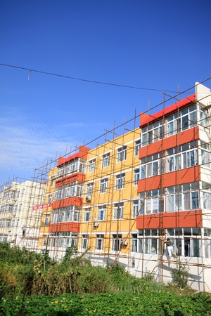 scaffold: closeup of scaffold in construction site