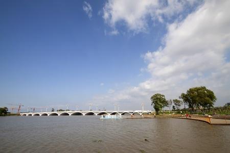 bridge across a river in a park