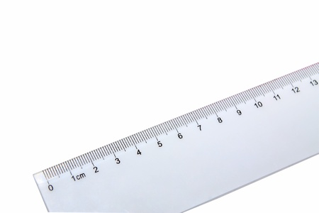 plastic ruler on white background