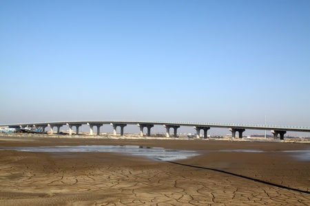 foundation cracks: bridge baluster and dry river in north china