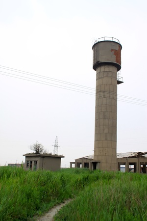 the water tower: red brick storage water tower in china