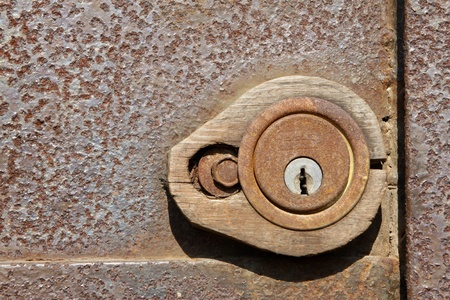 close up of rusty lock photo