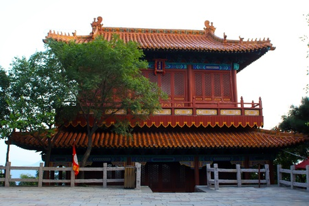 leisurely: sutra depository leisurely, ancient Chinese traditional buildings  Stock Photo
