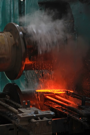 forging: welding production scene in a factory