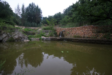 the humanities landscape: pond in the park in China