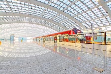 Beijing capital international airport construction landscape and passenger train