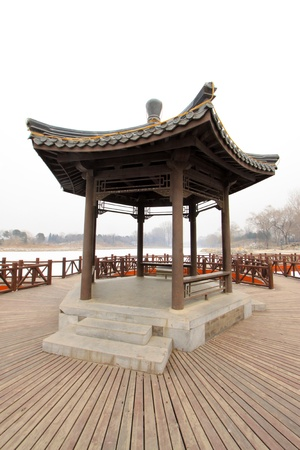 architectural style: pavilion in a park, traditional Chinese architectural style in china