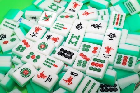 mahjong: close up of mahjong tiles