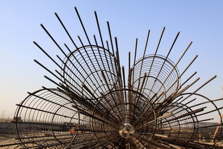 work material: steel rebar component in a construction site, North China.