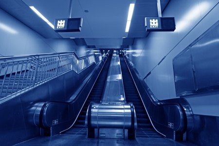 rapid steel: escalator in a subway station in Beijing, China Stock Photo