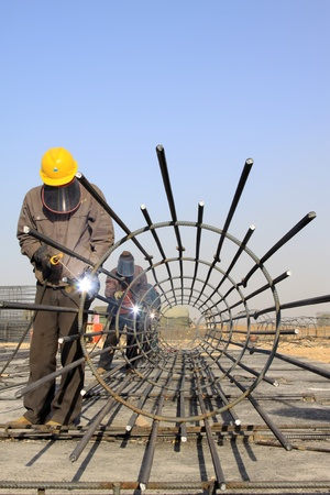 reinforced component at the construction site and workers, north china Stock Photo - 12206191