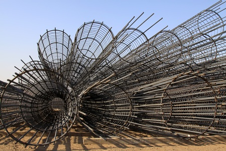 building material: steel rebar component in a construction site, North China.