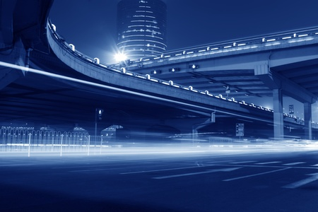 prosperous: night scene of the prosperous city, under the viaduct in beijing, China