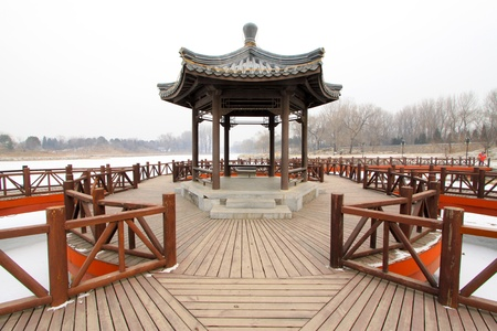 pavilion and rail in a park, traditional Chinese architectural style in china Stock Photo - 12323359