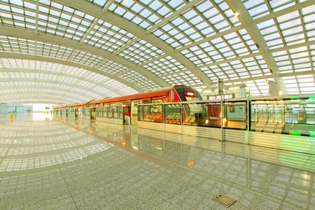 Beijing capital international airport construction landscape and passenger train