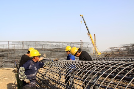 reinforced component at the construction site and workers, north china