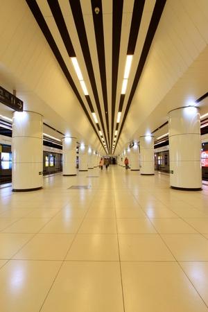 Morning, modern hall in Beijing subway station, China
