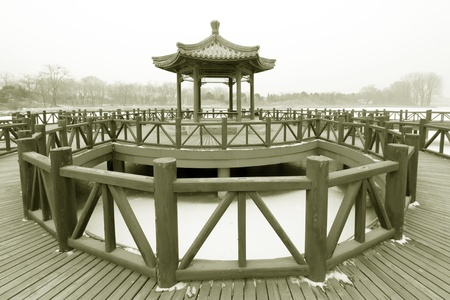 pavilion: pavilion in a park, traditional Chinese architectural style in china