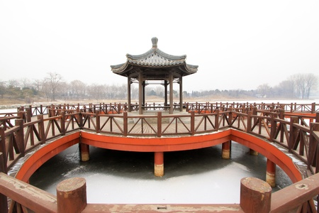 pavilion: pavilion and rail in a park, traditional Chinese architectural style in china