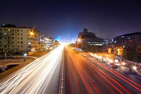light trails on the modern street at night in beijing financial center,China. photo