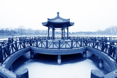 pavilion and rail in a park, traditional Chinese architectural style in china Stock Photo - 12323146