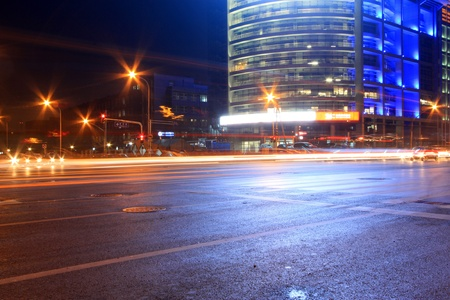 light trails on the modern street at night in beijing financial center,China