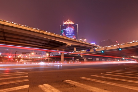 night scene of the prosperous city, under the viaduct in beijing, China photo